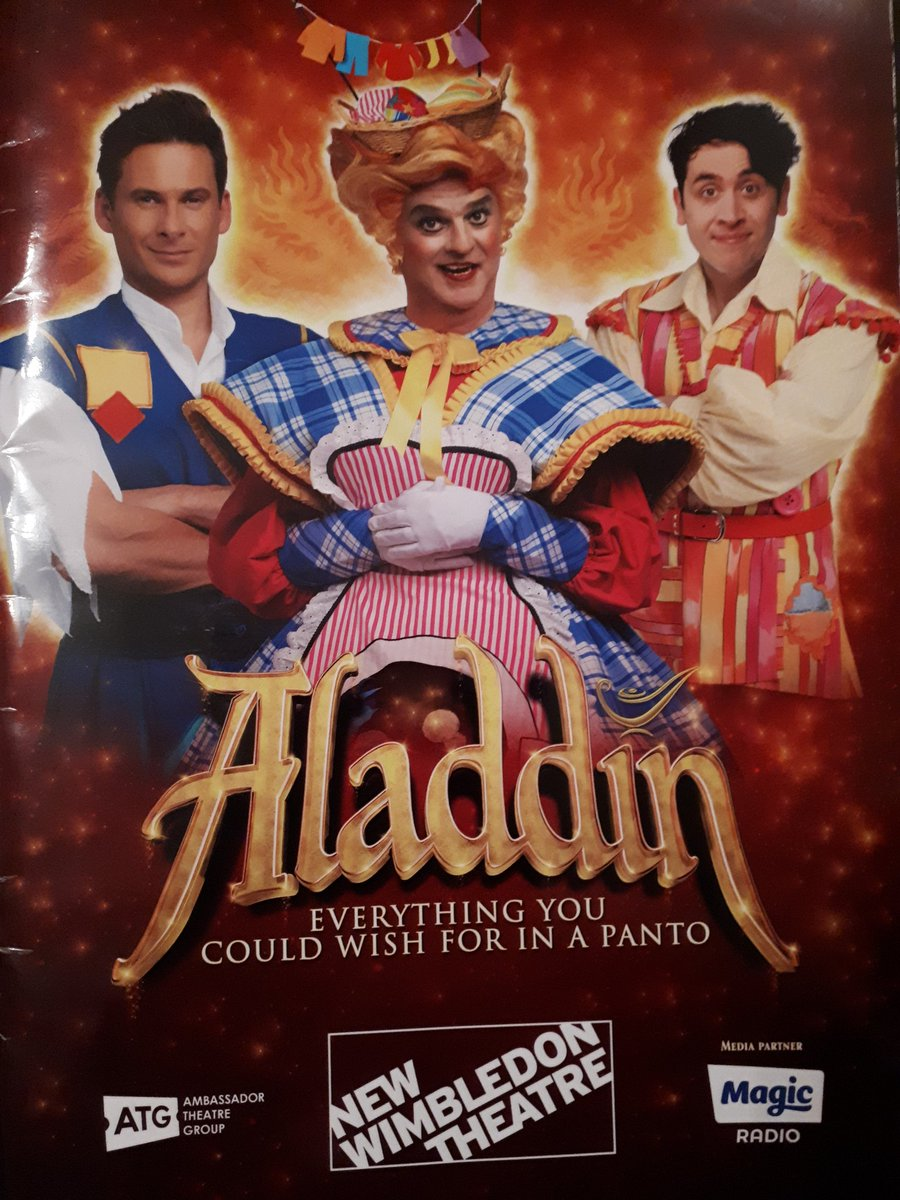 Merton comes to Merton! Great performances by Paul Merton as Widow Twankey in Aladdin Panto @NewWimbTheatre. Here he is with @MayorOfMerton and the other star of the show, Pete Firman.