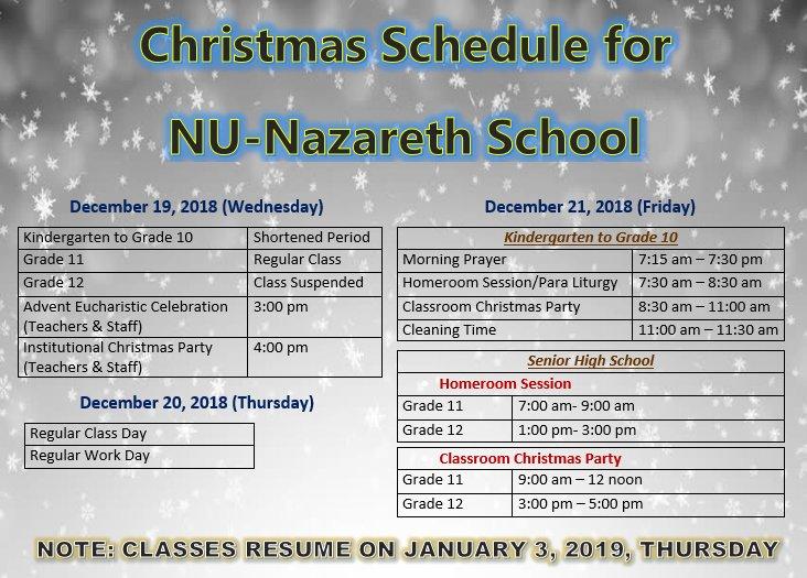 Nu Nazareth School On Twitter C H R I S T M A S S C H E D U L E