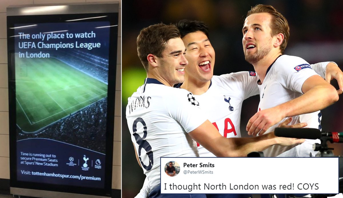 Tottenham fans mock rivals Arsenal and Chelsea over 'only place to watch Champions League in London' advert https://t.co/IsRGhGtP7H