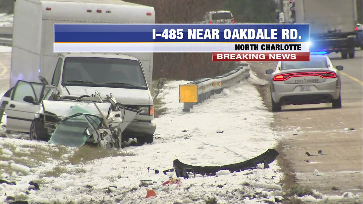 UPDATE: A look at the devastating wreck on OL I-485 prior to Oakdale Rd. blocking the left lanes and has traffic backed to Prosperity Church Rd. #cltraffic #clttraffic #clt<br>http://pic.twitter.com/f6FYgKrrga
