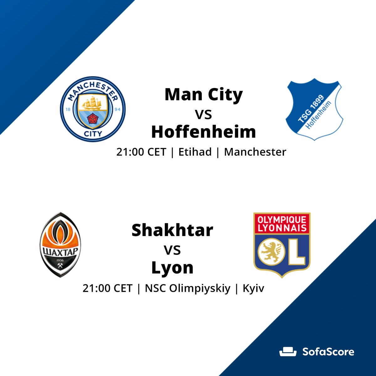 🔎| #ChampionsLeague guide (2/4) - Group F:  ✔️Shakhtar need a win to overtake Lyon ✔️Hoffenheim must win and hope Shakhtar lose in order to earn a 🥉 place  ➡️Follow matches with SofaScore app 📲  #UCL