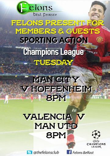 Felons Present for Members & Guests ** Sporting Action ** live on our HQ Screens #Football #LiveSport #ChampionsLeague