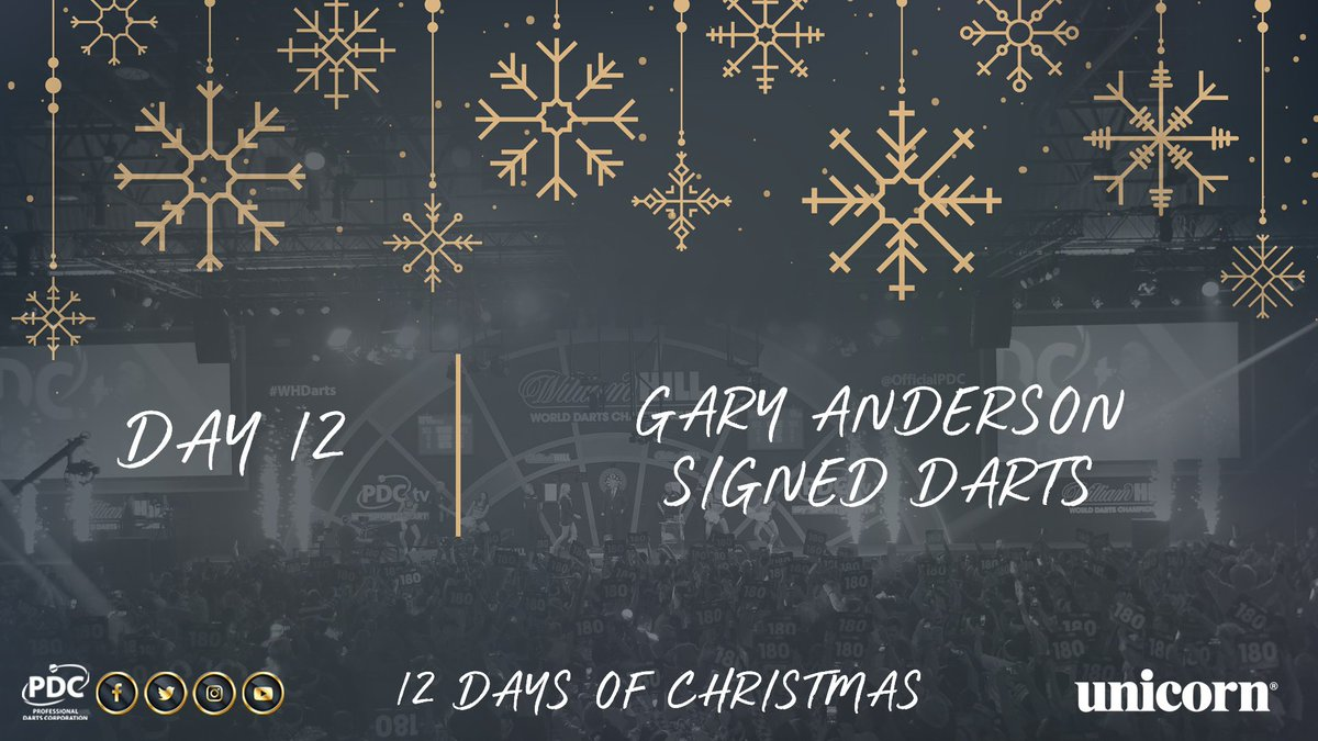 DAY 12!  The last day of our 12 days of Christmas giveaways gives you the chance to win a signed set of Gary Anderson darts, courtesy of @UnicornDarts.  Simply RT to be in with the chance of winning.  Full list of winners announced tomorrow! https://t.co/GkQzQbj1oi