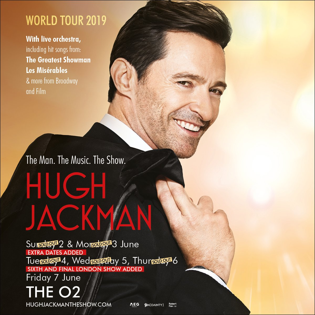 Wow, you guys love @RealHughJackman a lot 🙌 Due to huge demand he's adding a 6th date to his upcoming tour The Man. The Music. The Show. Tickets for the 7 June are on sale tomorrow at 9am   https://t.co/fvDsqKEOmh