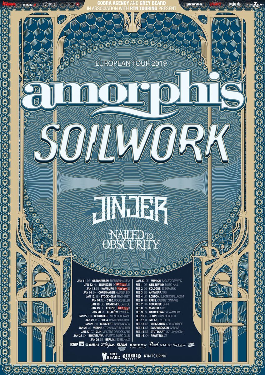 This co-headline tour with #Soilwork, plus #Jinjer and #NailedtoObscurity, starts in one month! Who will see in Europe? Some venues are already sold out so get your tickets at https://t.co/1WCe1owgym  #amorphis #queenoftimetour https://t.co/RVWzcrUABr