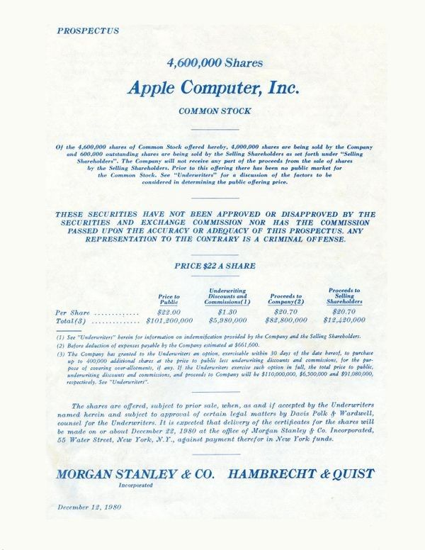 #otd 12th Dec, 1980  Apple Computer&#39;s Initial Public Offering was the largest #IPO since the Ford Motor went public in 1956. The stock rose almost 32% that day to close at $29, giving the company a market valuation of $1.778 billion.  Not a bad day&#39;s work!   @ComputerHistory <br>http://pic.twitter.com/ySZkYAZDkT