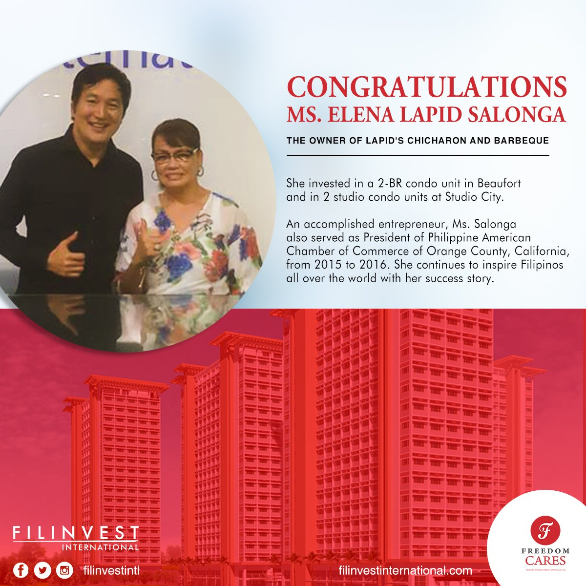 Congratulations to Ms. Elena Salonga for her investment win. A true inspiration to a lot of filipinos!  #Filinvest #FilinvestInternational https://t.co/Eg9TbsHT2F