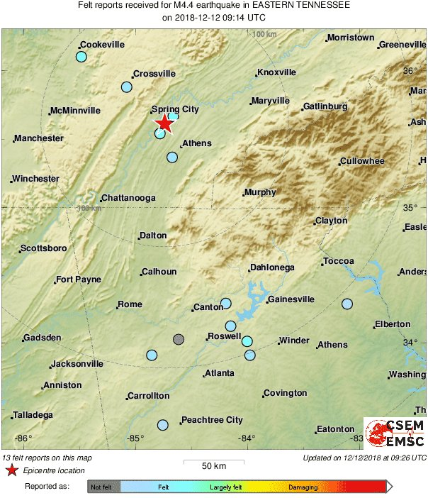 M4.4 #earthquake (#sismo) strikes 51 km N of #Cleveland (#Tennessee) 12 min ago. Effects reported by eyewitnesses: