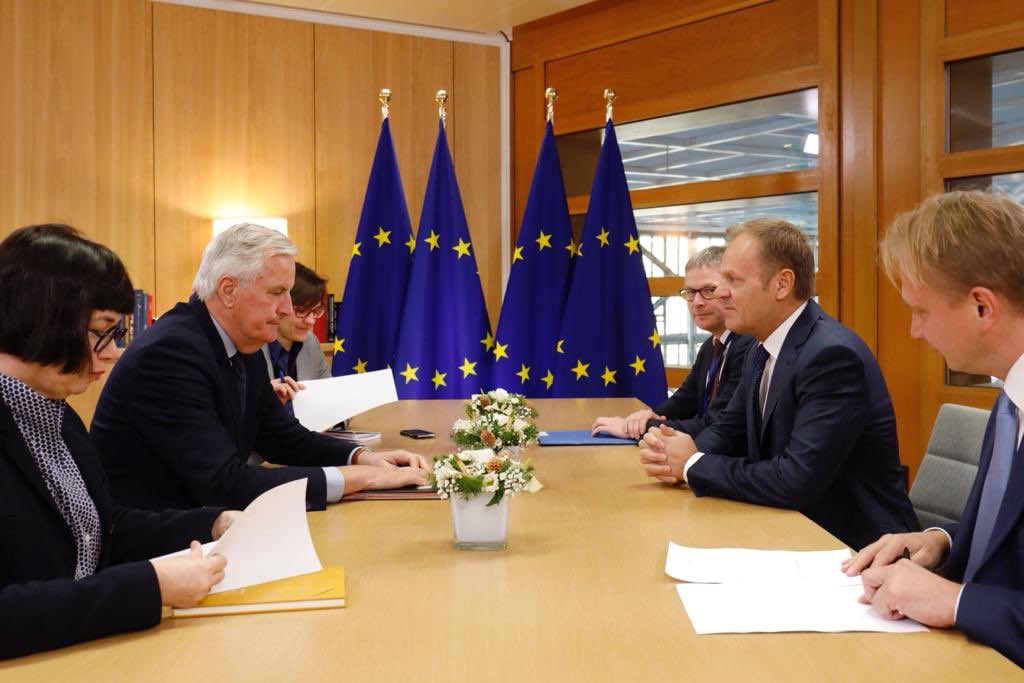 Meeting with @MichelBarnier ahead of tomorrow's discussion of #Brexit. #EUCO