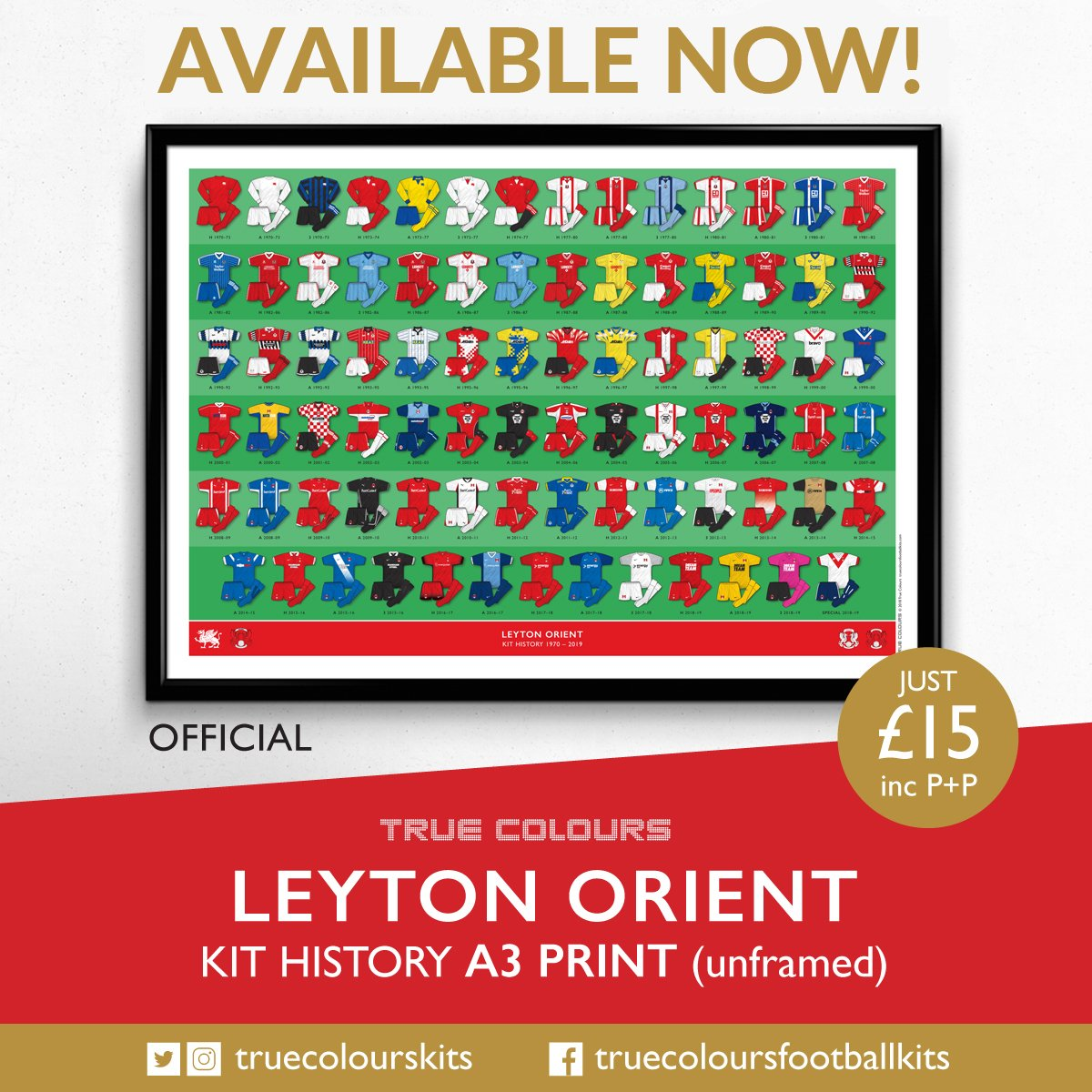 LEYTON ORIENT A3 unframed kit history prints available to buy now!  Professionally illustrated and printed. 74307f2ef