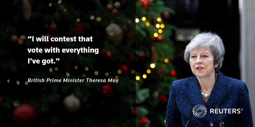 Theresa May's future as Britain's prime minister is on the line. Watch our latest report on the make-or-break confidence vote: https://reut.rs/2RUfN32 #Leadershipchallenge #NoConfidence #Brexit