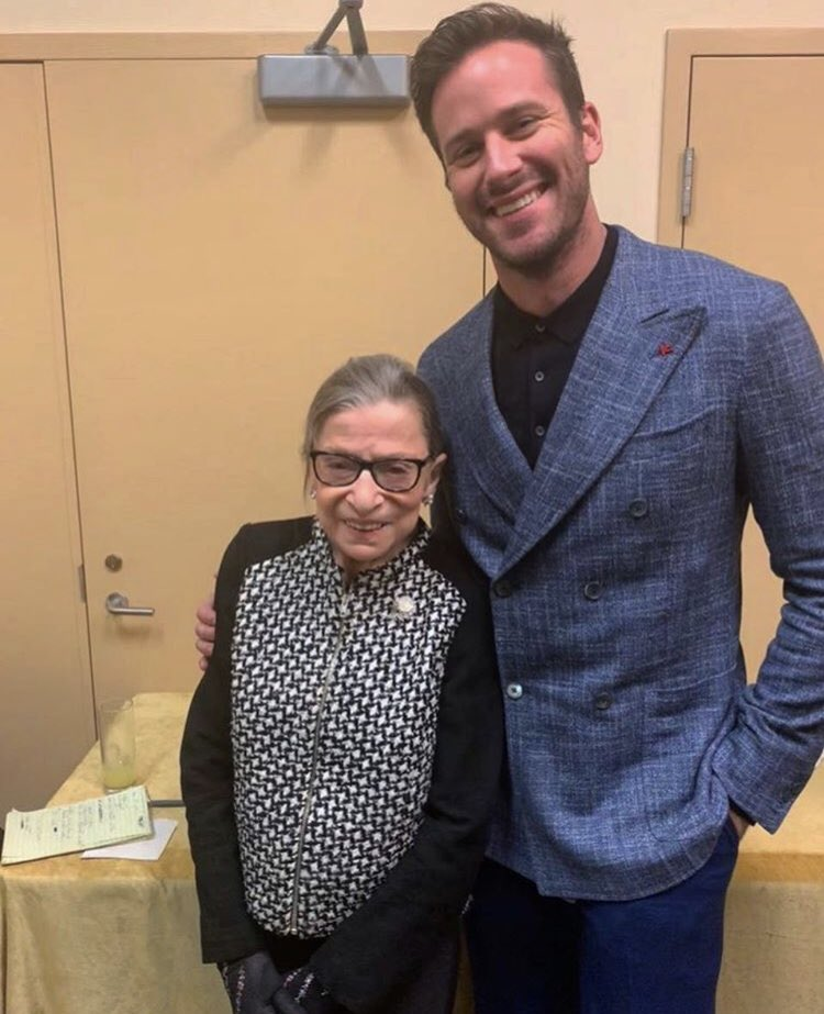 Armie and Elizabeth got to catch up with the real Ruth Bader Ginsburg! #Legend<br>http://pic.twitter.com/bjmifuVhGx