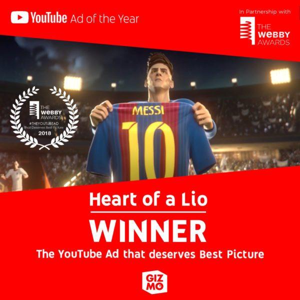 Heart of a Lio, la producción argentina gano el premio #TheYouTubeAd of TheYear http://www.sitemarca.com/heart-of-a-lio-la-produccion-argentina-gano-el-premio-theyoutubead-of-the-year/…