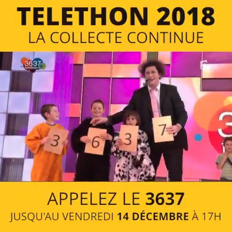 #Téléthon2018 : la collecte continue. Faites un don sur telethon.fr ou au 3637 (lignes ouvertes jusqu'au 14/12) Merci 💛 https://t.co/hWSNzWHoAX