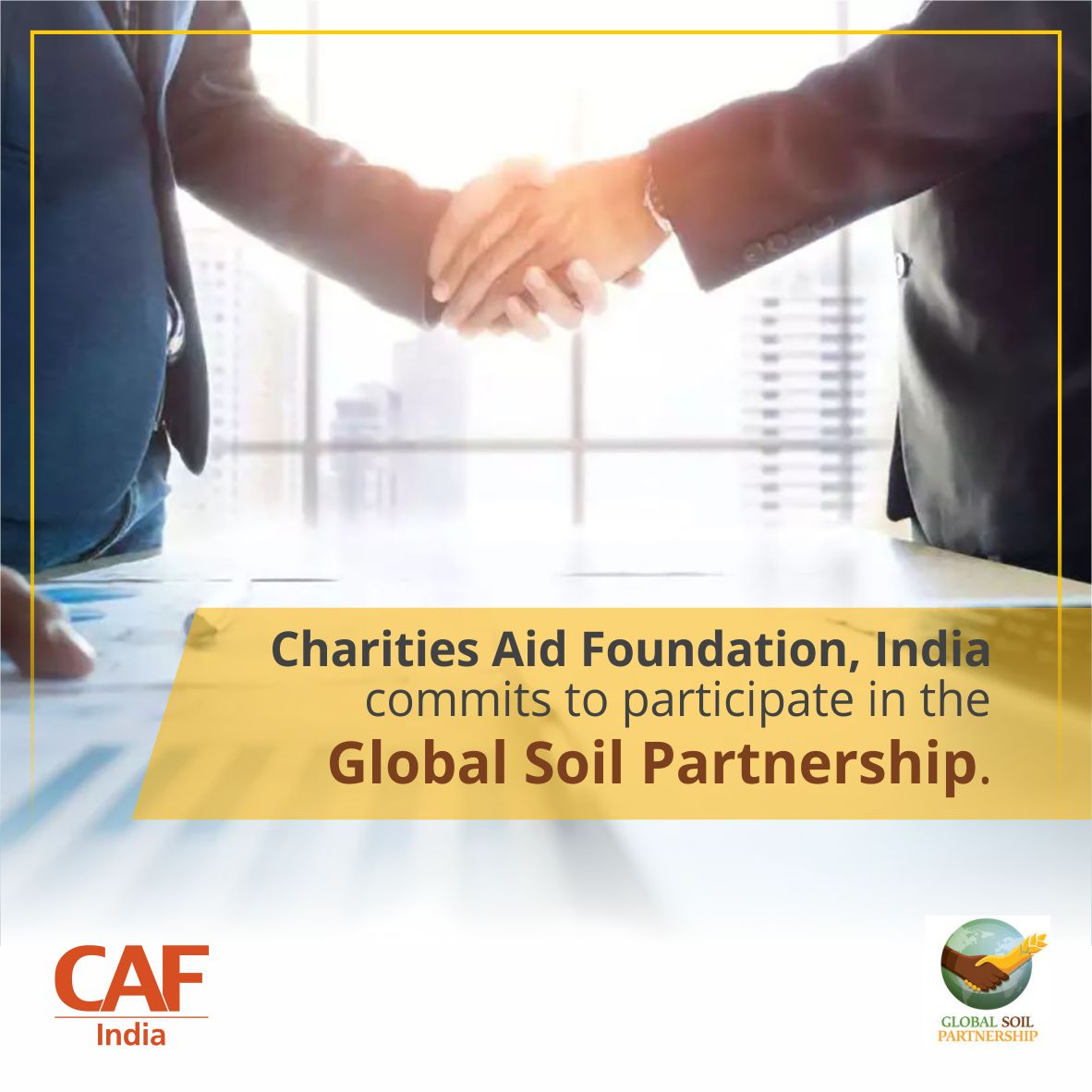Soil is an essential resource & a vital part of the natural environment. It fulfils no. of functions & ecosystem services that bind it to SDG 1, 2, 3, 6, 13 & 15. CAF India is pleased to join the Global Soil Partnership 2 improve #governance & promote #sustainable mgmt of soils.