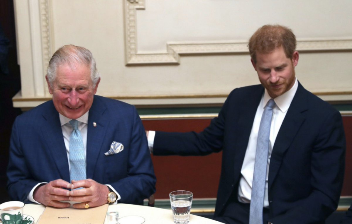 Prince of Wales and the Duke of Sussex during a discussion about violent youth crime at a forum held at Clarence House in London - with @TinieTempah Gareth Southgate and Tom Hardy