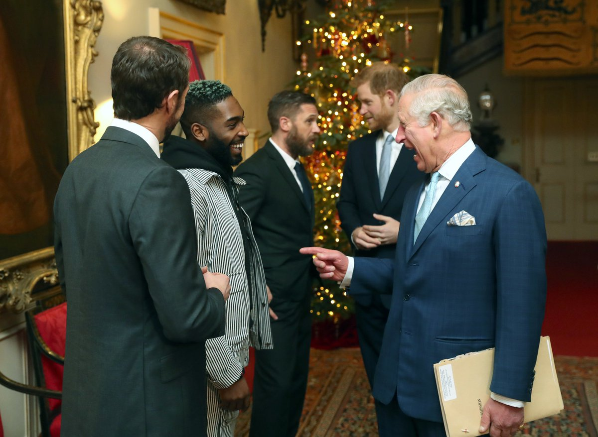 The Prince of Wales and the Duke of Sussex talk with Gareth Southgate, Tinie Tempah and actor Tom Hardy, during a discussion about violent youth crime at a forum held. 📷 via @PA