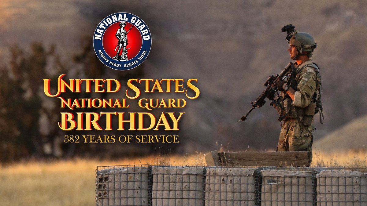 Happy 382nd birthday to The National Guard! Born in 1636, the Guard has secured the homeland and helped the #DOD build partnerships around the globe. #KnowYourMil #Guard382