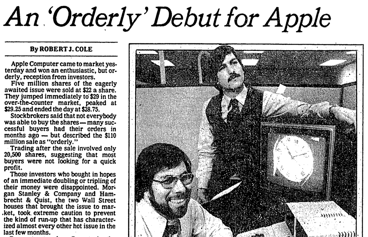 """On December 12, 1980, Apple launched the IPO of its stock, selling 4.6 million shares at $22 per share with the stock symbol """"AAPL"""" on the NASDAQ market. #Apple #IPO #1980s<br>http://pic.twitter.com/s2pK0uVyaE"""