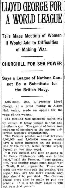 Dec 10, 1918 - New York Times: Support grows for a League of Nations #100yearsago