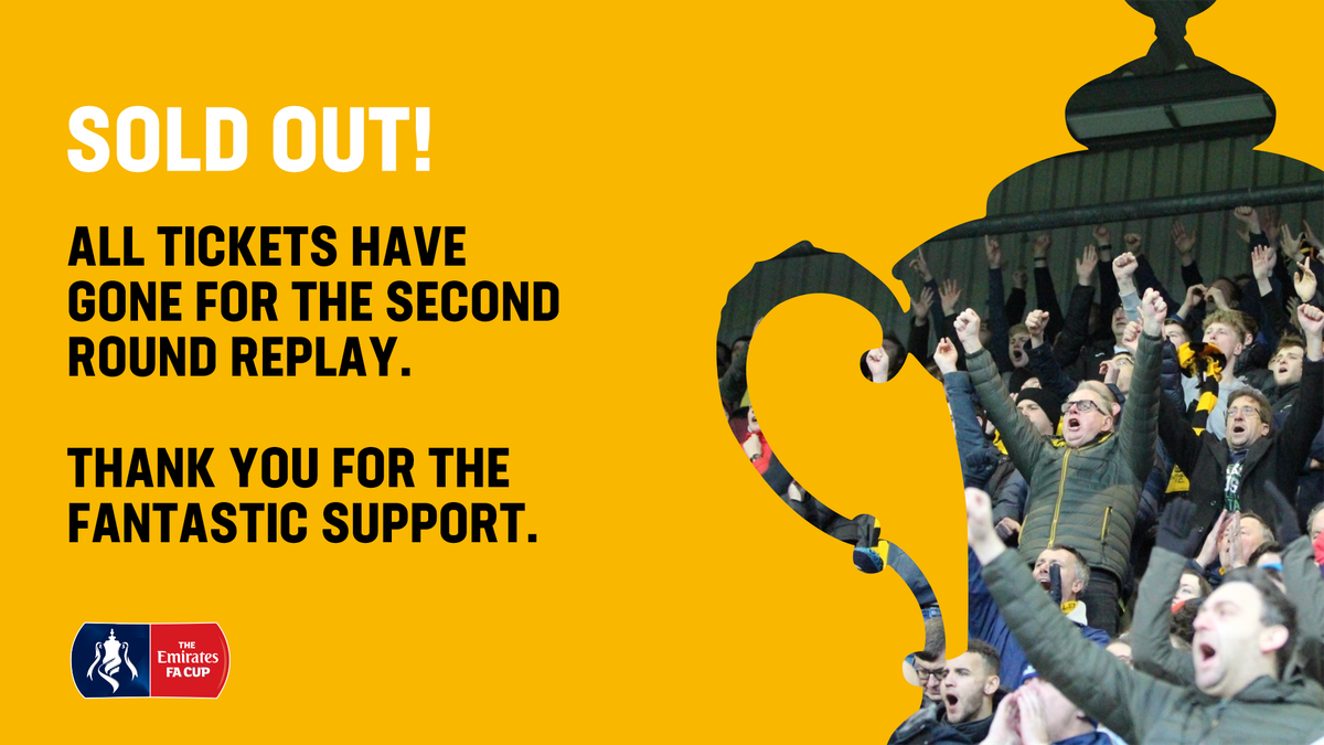 Southport have sold all the tickets for the FA Cup second round replay v Tranmere Rovers on Monday 17th December.    The winners of the tie will have a home match v Tottenham on Friday 4th January.    Both games are set to be broadcast on BT Sport.