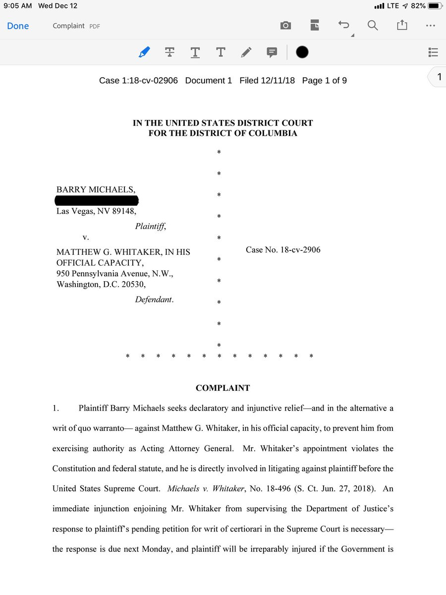 New lawsuit filed yesterday in Washington D.C. against Acting Attorney General Matt Whitaker regarding my U.S. Supreme Court 2nd Amendment case <br>http://pic.twitter.com/yexMkKrR7W