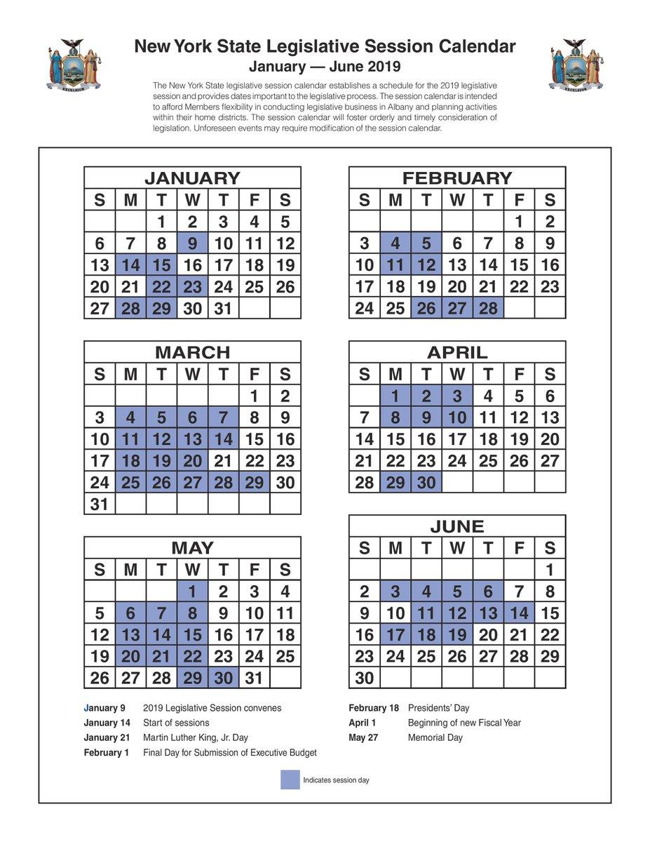 New York State 2019 February Calendars New York State Legislative Session Calendar January — June 2019