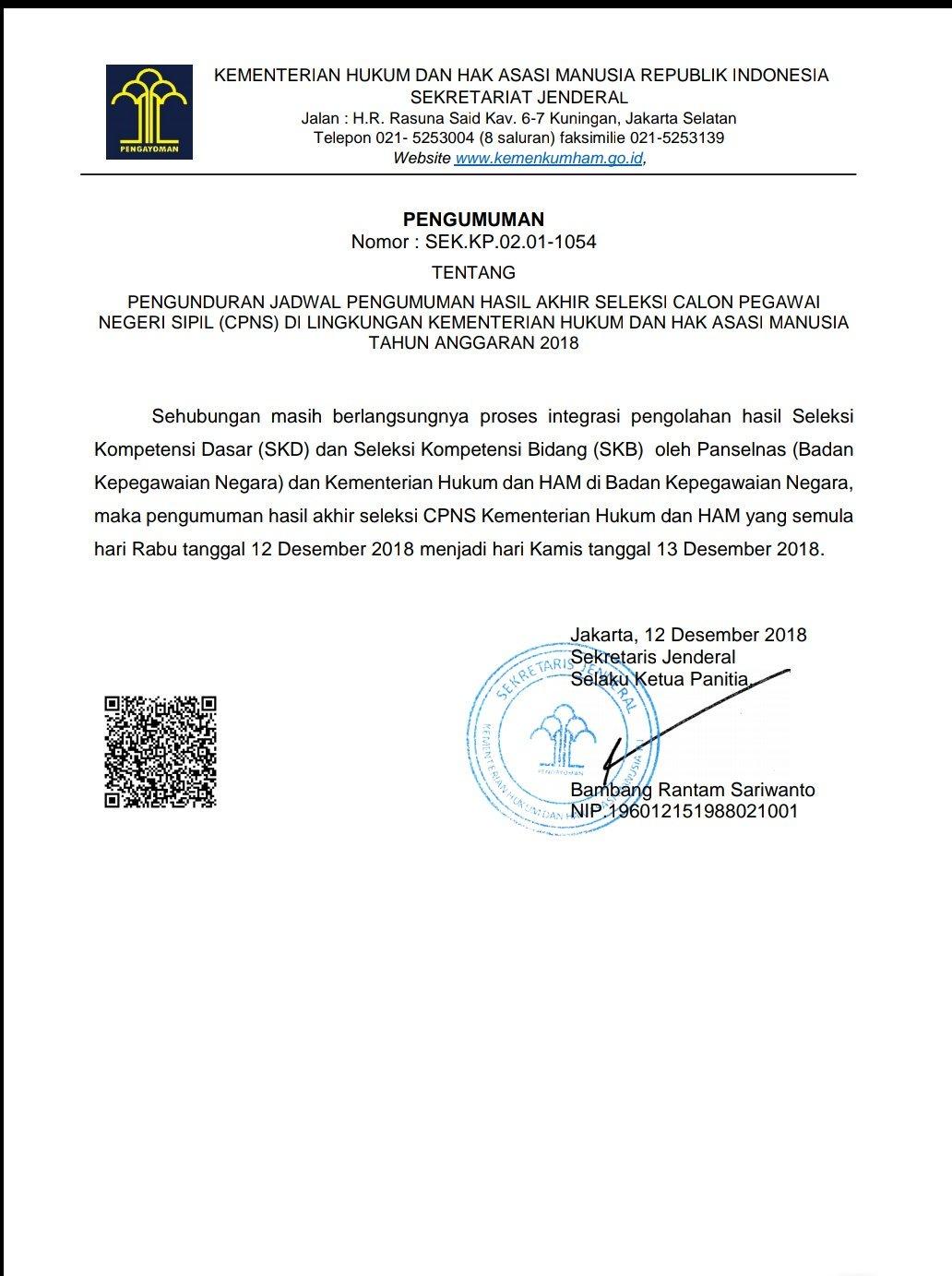Pengunduran Pengumuman Jadwal Hasil Akhir Seleksi CPNS Kemenkumham 2018.