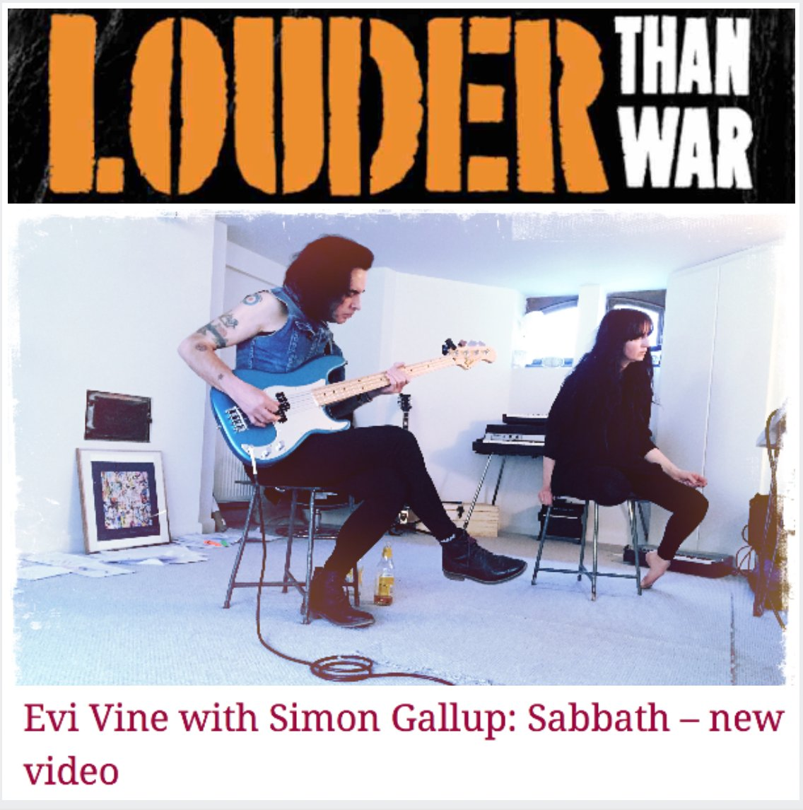The new video for @EviVine 'Sabbath' featuring #SimonGallup of @TheCure and #PeterYates from Fields Of The Nephilim @BornGatekeeper, created by Craig Murray (known for his work with #Mogwai), is premiering in Britain's groundbreaking @LouderThanWar ~ http://goo.gl/FfW6fx