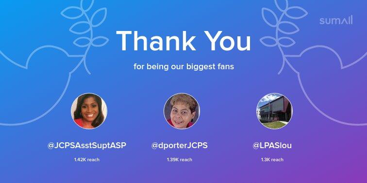 Our biggest fans this week: @JCPSAsstSuptASP, @dporterJCPS, @LPASlou. Thank you! via sumall.com/thankyou?utm_s…