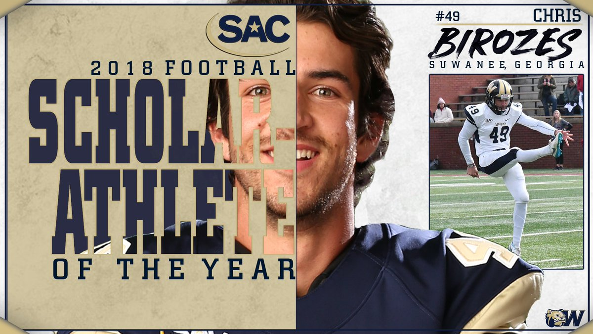 Congrats Chris Birozes!! The @WingateFootball 2-time Academic All-America honoree has been named the 2018 SAC Scholar-Athlete!!  STORY | http://bit.ly/BirozesSA #OneDog #WUFB