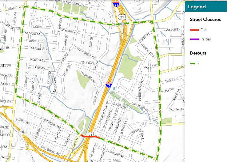 Oaklawn Avenue closed between Andrill Terrace and Burton Street, December 14-17 for water pipe construction related to I-77 project. Drivers will use Lasalle Street as a detour. @NCDOT_I77, @CharlotteDOT , @I77Express  #clttraffic <br>http://pic.twitter.com/M1p9LyrGBU