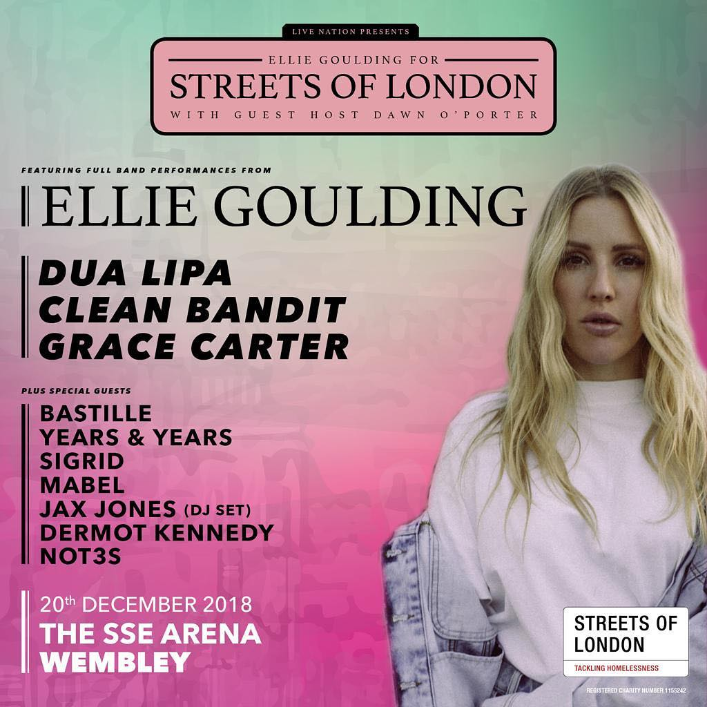 ✨ @Not3sofficial is joining @elliegoulding at @StreetsofLs huge show at @ssearena on 20th December to raise money and awareness for homeless people in London ✨ 🎟 Get your tickets now: smarturl.it/StreetsOfLondo…