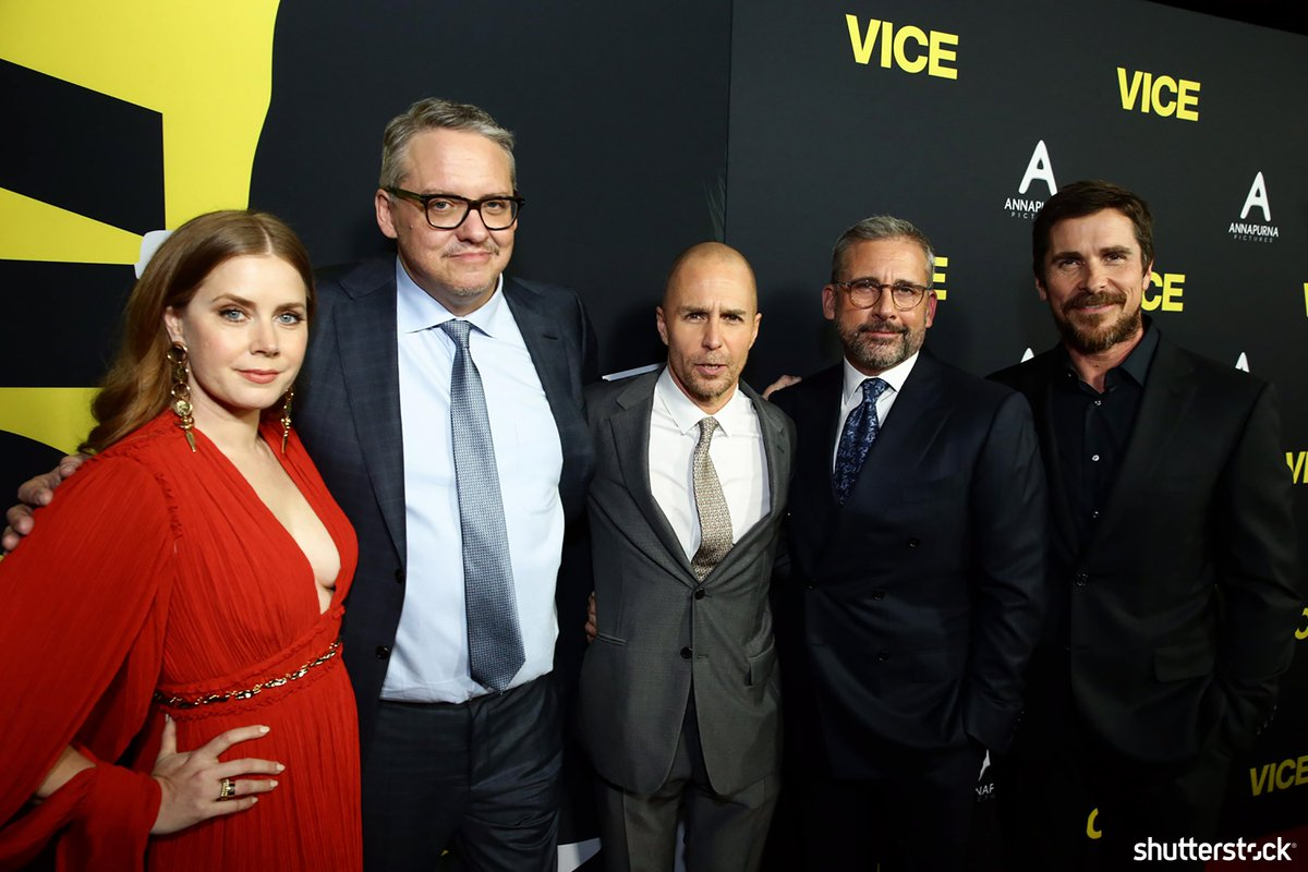 Actors #AmyAdams, #SamRockwell, #SteveCarell and #ChristianBale pose with Director #AdamMcKay at the Vice film premiere + more photos of the day shutr.bz/EditorsPicks | 📸 Steve Cohn/Shutterstock