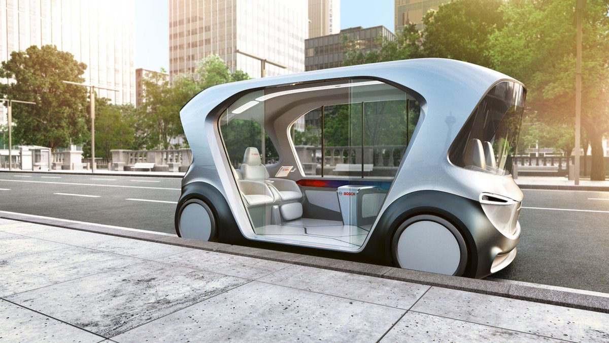 Driverless electric shuttles that glide almost silently through city centers and are seamlessly connected with their environment? We are showcasing our new shuttle mobility concept at @CES: https://t.co/NnM7tnTDcO #BoschCES