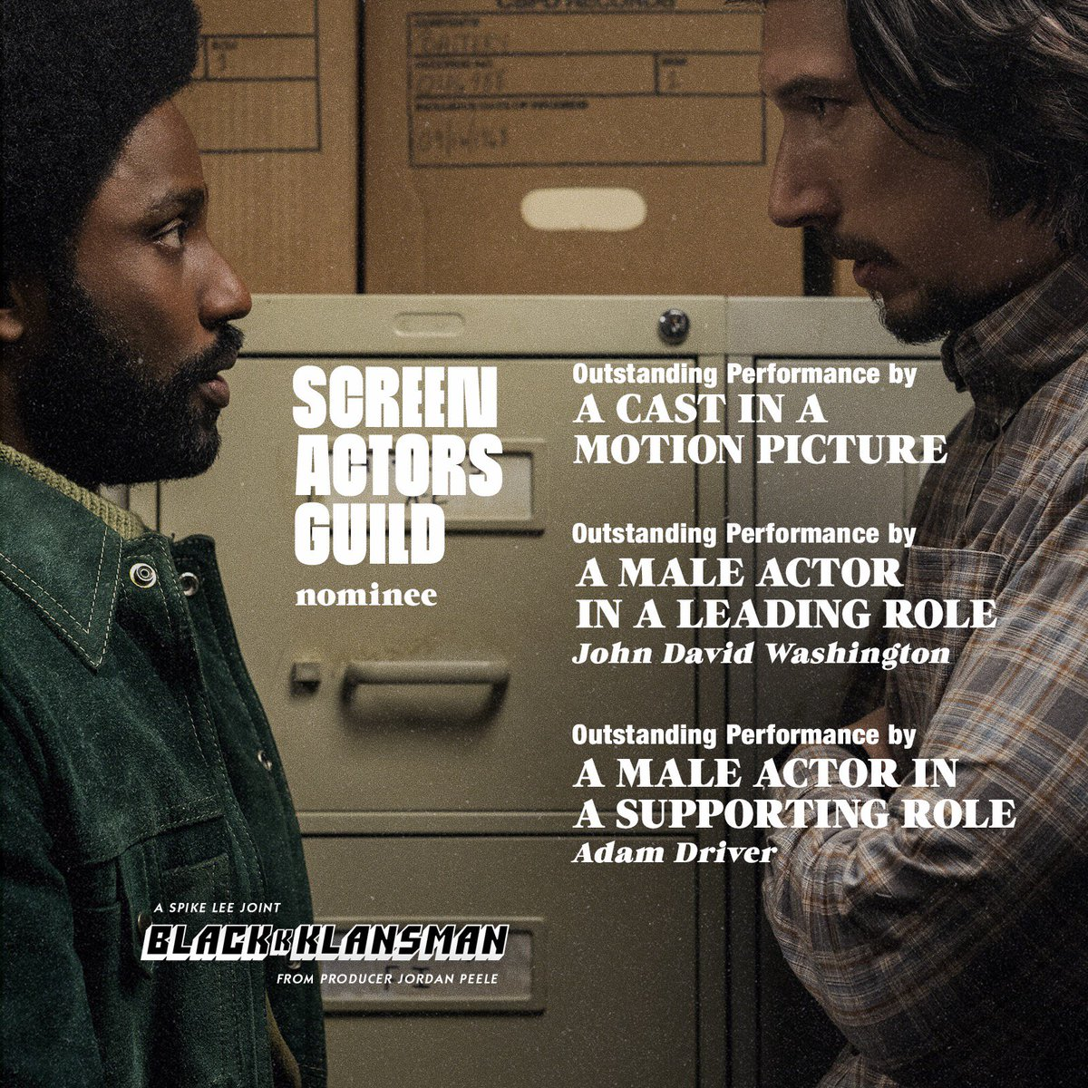 Congrats to John David Washington, Adam Driver and the entire cast of #BlacKkKlansman on their #SAGAwards nominations! <br>http://pic.twitter.com/mcgaeq9tvB