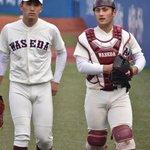 Image for the Tweet beginning: このコンビ素敵でした😳💗 #小島和哉 #岸本朋也 #WASEDA #東京六大学野球 #浦和学院