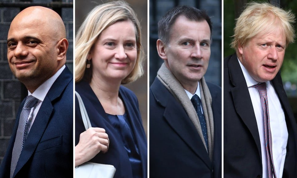 Here are the contenders to replace Theresa May as Prime Minister: - One was forced to resign just 8 months ago over the Windrush scandal - One caused the first doctors strike in NHS history - One cites Ayn Rand as a hero - One is Boris Johnson An absolute embarrassment.