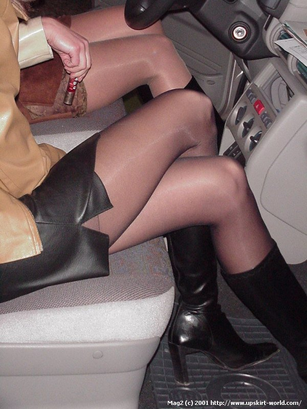 Crossed legs stockings upskirt