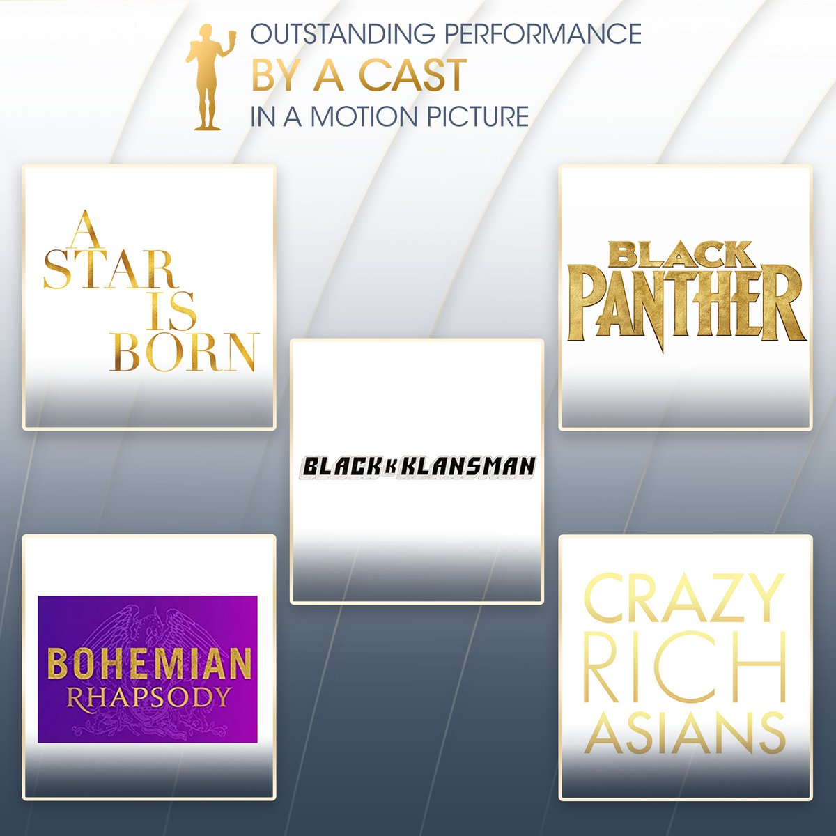 We still can't get over how remarkable and groundbreaking these performances were! Congratulations to @StarisBornMovie, @TheBlackPanther, @Blackkklansman, @BoRhapMovie, and @CrazyRichMovie for your Cast in a Motion Picture nominations! #sagawards<br>http://pic.twitter.com/TG1HadpDBe