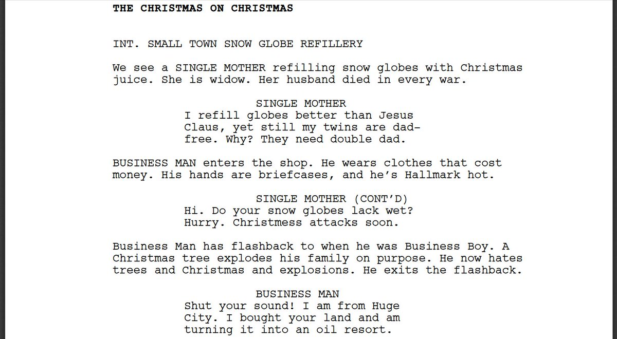 I forced a bot to watch over 1,000 hours of Hallmark Christmas movies and then asked it to write a Hallmark Christmas movie of its own. Here is the first page.