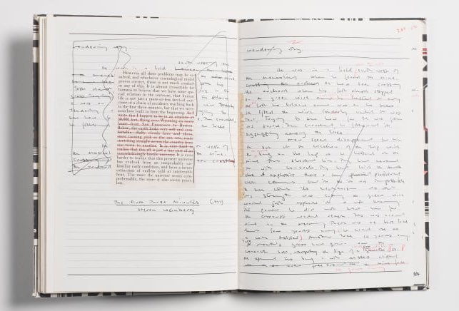 """""""It is the book he brought with him through the fire - a copy of The Histories by Herodotus that he has added to, cutting and gluing in pages from other books or writing in his own observations - so they are all cradled within the text of Herodotus."""" Michael Ondaatje's notebooks<br>http://pic.twitter.com/exOOCo0NIP"""