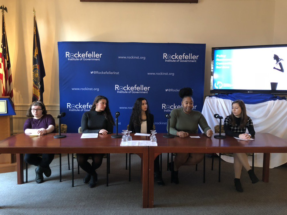 Watch now: @ualbany research interns at the @RockefellerInst's Center for Law & Policy Solutions present their findings on access to #reproductivecare in New York State.  Watch live: https://t.co/Cp2DWwODuQ