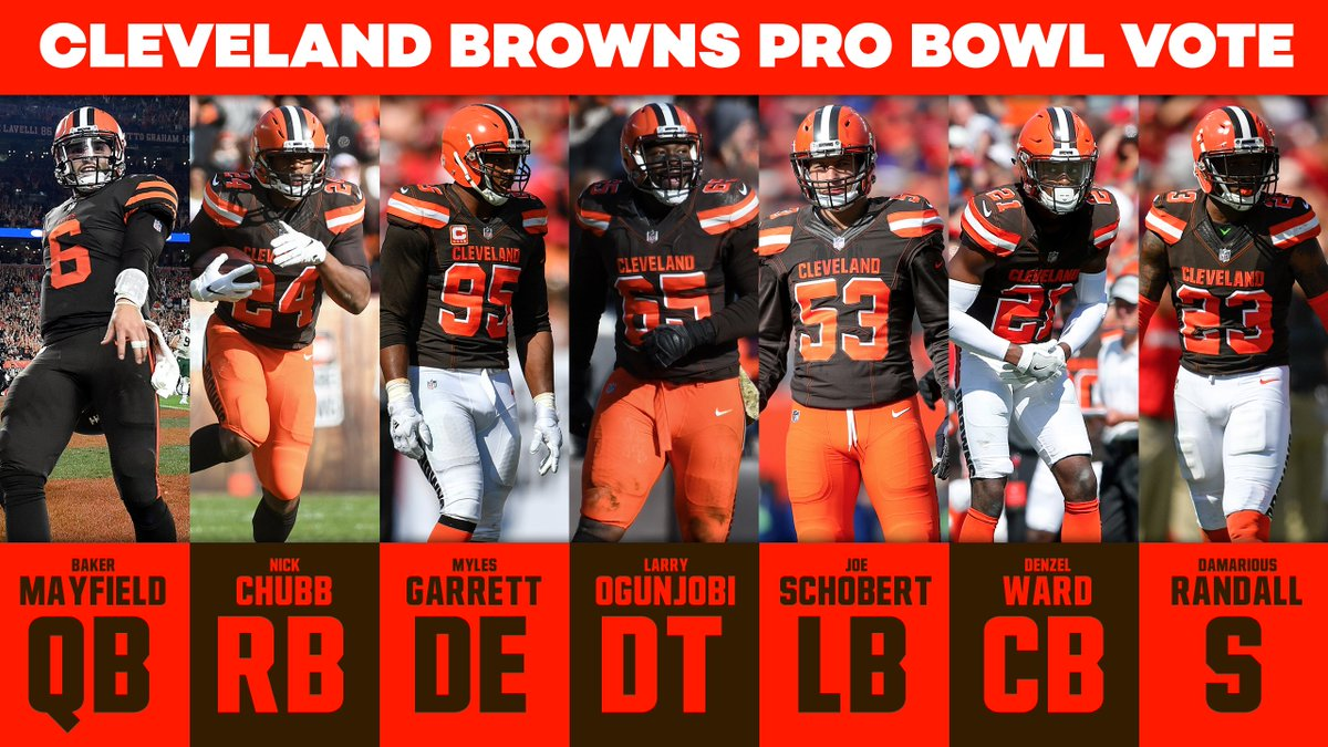 Okay #Browns  Twitter, it&#39;s #ProBowlVote time.  - @bakermayfield  - @NickChubb21  - @MylesLGarrett  - @Mr_Ogunjobi  - @TheSchoGoesOn53  - @denzelward  - @RandallTime  Go @Browns. Retweets are worth double today. Don&#39;t forget, we put Peyton Hillis on Madden.<br>http://pic.twitter.com/WqZJ262GyR