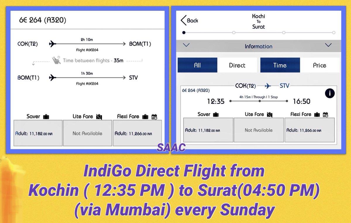 Now enjoy the Same flight Connectivity between #Kochin to #Surat.  @IndiGo6E  #SAAC.  @KochiAirport @aaistvairport