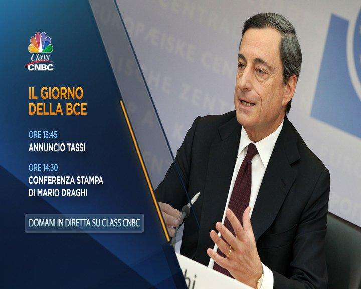 #Bce, domani il giorno della verità: in diretta su @classcnbc dalle 13:45 l'annuncio di Francoforte sui nuovi tassi di interesse, seguito dalla conferenza stampa del presidente #MarioDraghi