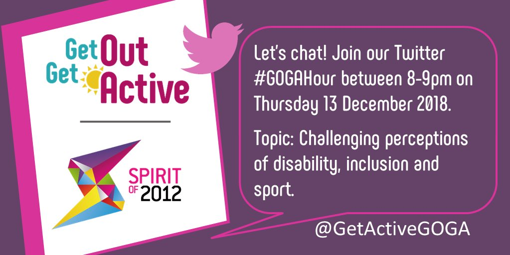 Tomorrow, we're hosting the next #GOGAHour. Join us and @GetActiveGOGA partners as we discuss challenging perceptions of #disability, #inclusion and #sport. Between 8-9pm- see you there!