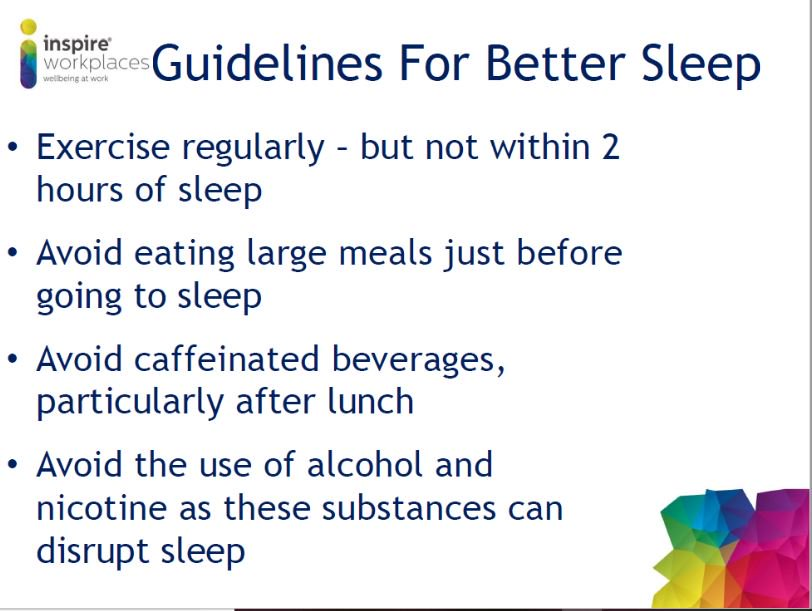 aim to get good quality sleep a healthy balanced diet hydrate and try to get some movement and fresh air to clear the mind