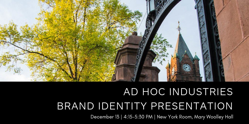Mount Holyoke is working with the creative agency Ad Hoc Industries on the brand identity of the College. We invite all students to attend a presentation of their work to date tomorrow, December 13 at 4:15-5:30 in the New York Room in Mary Woolley Hall.