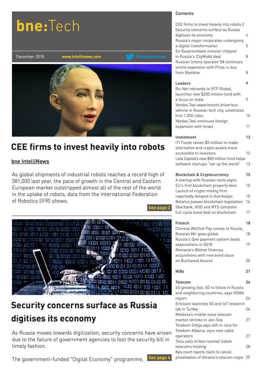 #bneTech Dec issue is out!   CEE firms to invest heavily into robots  Security concerns surface as Russia digitises its economy  read here:  https://t.co/y6l8t70ilf  sign up here:  https://t.co/fhu6tag0qQ   #fintech #ecommerce #ICO #blockchain #cryptocurrency